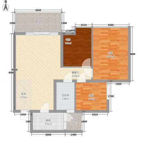 永升彩虹花园3室1厅1卫1厨105.00㎡户型图