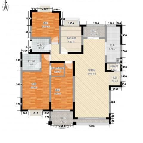 江南世家3室1厅2卫1厨205.00㎡户型图