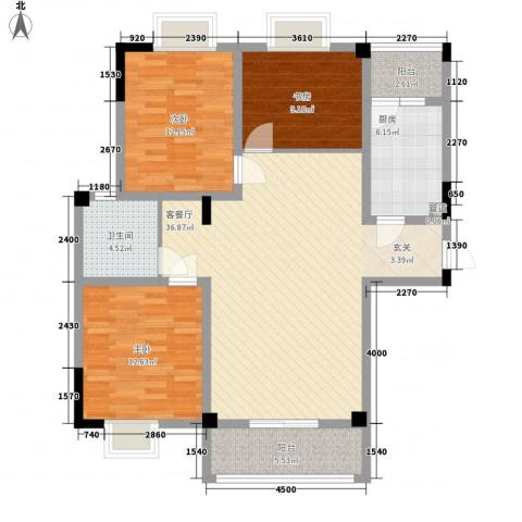 槟榔花园3室1厅1卫1厨128.00㎡户型图