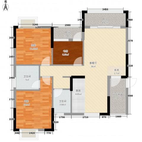 星宇・华成苑3室1厅2卫0厨127.00㎡户型图
