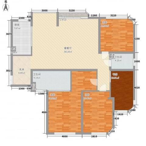 莲富大厦4室1厅2卫1厨204.00㎡户型图