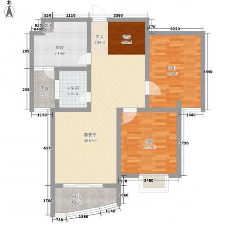 新港国际2室1厅1卫1厨105.00㎡户型图