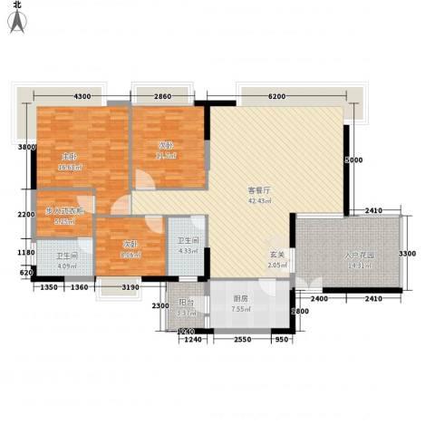 益利名门花园3室1厅2卫1厨117.77㎡户型图