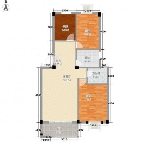 富都广场3室1厅1卫1厨136.00㎡户型图