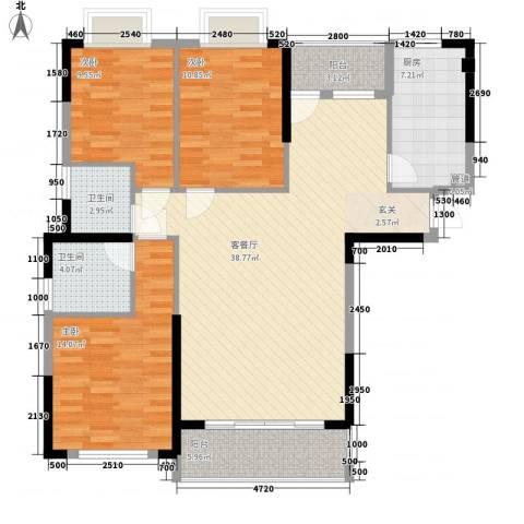 莲富大厦3室1厅2卫1厨136.00㎡户型图