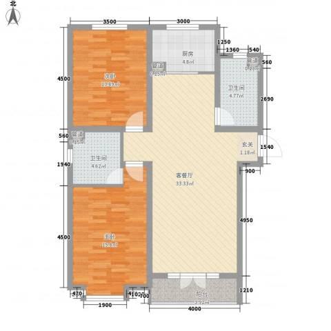 梅江南苑2室1厅2卫1厨116.00㎡户型图