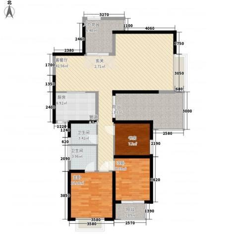 莲富大厦3室1厅2卫1厨154.00㎡户型图