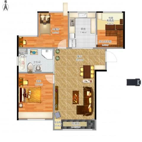 亿锋广场3室1厅1卫1厨96.00㎡户型图