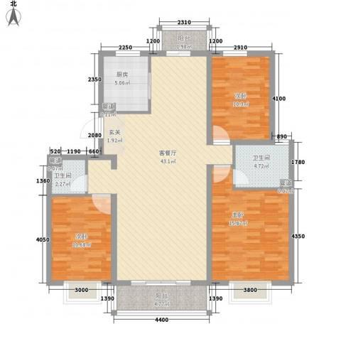 梅江南苑3室1厅2卫1厨141.00㎡户型图