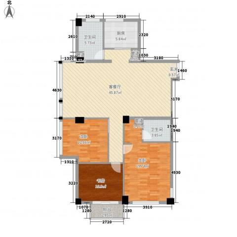 外滩花园3室1厅2卫1厨107.50㎡户型图