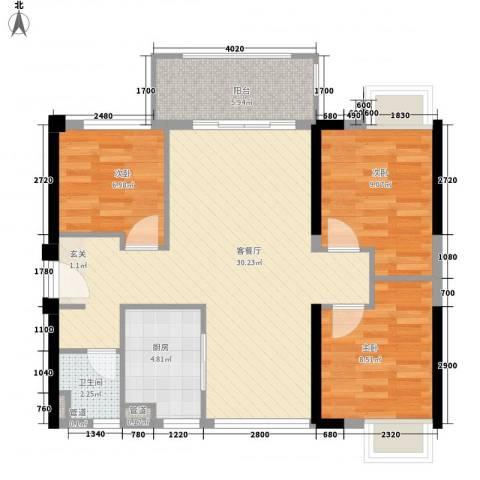 金水湾花园3室1厅1卫1厨96.00㎡户型图