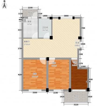 繁裕新村3室1厅1卫1厨72.92㎡户型图