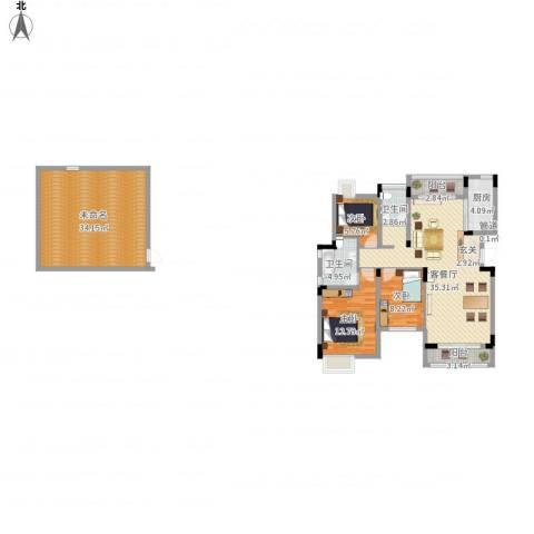 汉港凯旋城3室1厅2卫1厨162.00㎡户型图