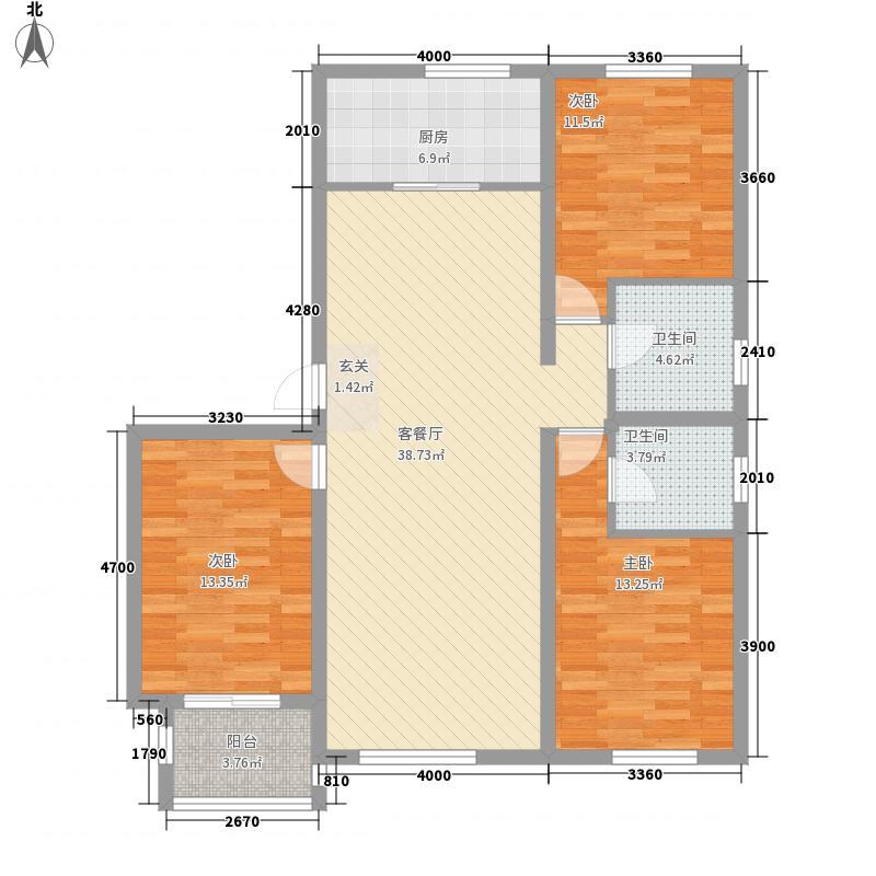 柒麟湾132.71㎡P户型3室2厅2卫2厨