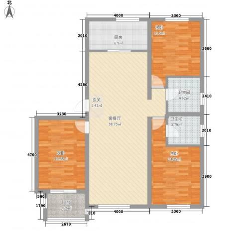 柒麟湾3室1厅2卫1厨133.00㎡户型图