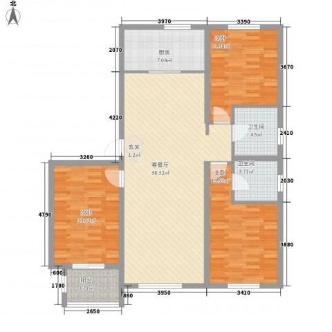 柒麟湾3室1厅2卫1厨136.00㎡户型图