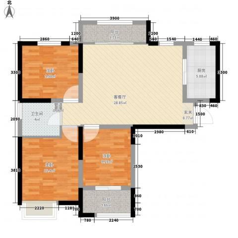 金水湾花园3室1厅1卫1厨110.00㎡户型图