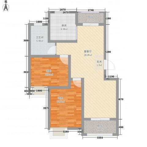 金水湾花园2室1厅1卫1厨100.00㎡户型图