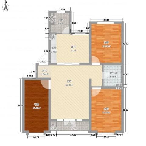 金水湾花园3室2厅1卫0厨124.00㎡户型图