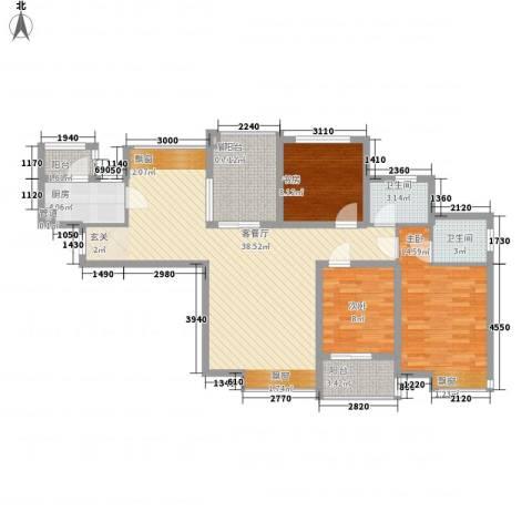 中海观园3室1厅2卫1厨135.00㎡户型图