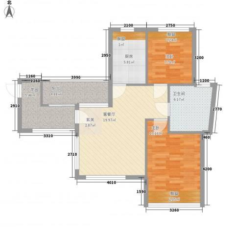 竹悦山水2室1厅1卫1厨74.00㎡户型图