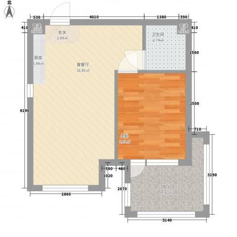 黄山纳尼亚小镇1室1厅1卫0厨52.00㎡户型图