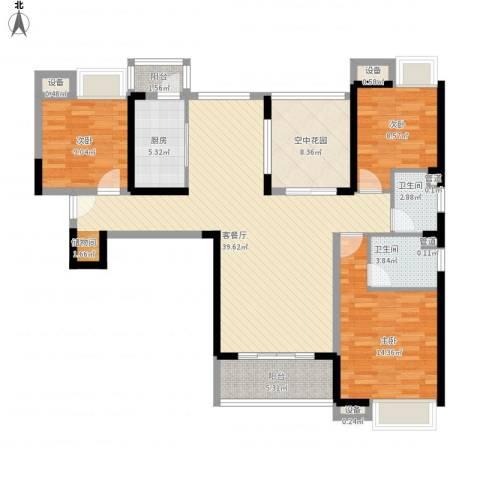 东莞长安万达广场3室1厅2卫1厨146.00㎡户型图