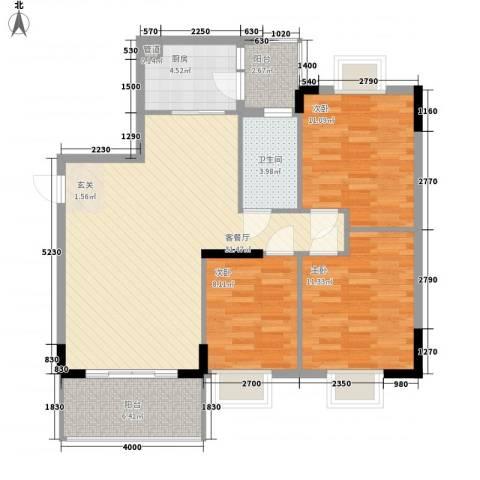 翠华花园二期3室1厅1卫1厨102.00㎡户型图
