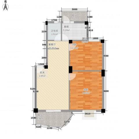 汉口人家2室1厅1卫1厨100.00㎡户型图