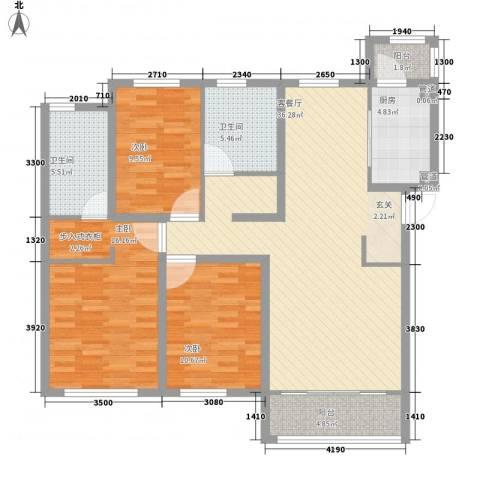 华厦津典三期3室1厅2卫1厨144.00㎡户型图
