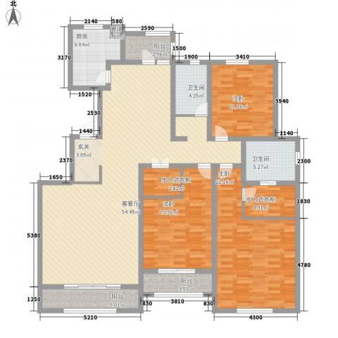华厦津典三期3室1厅2卫1厨182.00㎡户型图