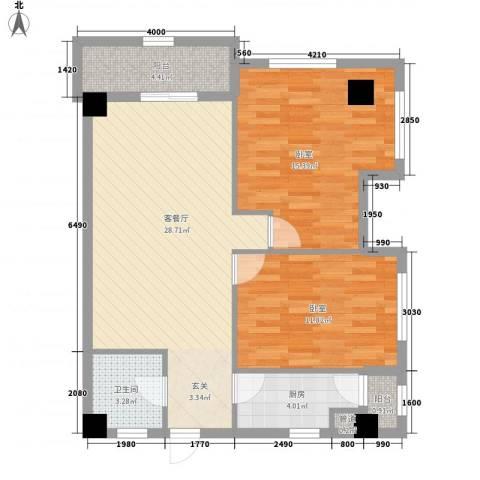 紫薇尚层1厅1卫1厨95.00㎡户型图