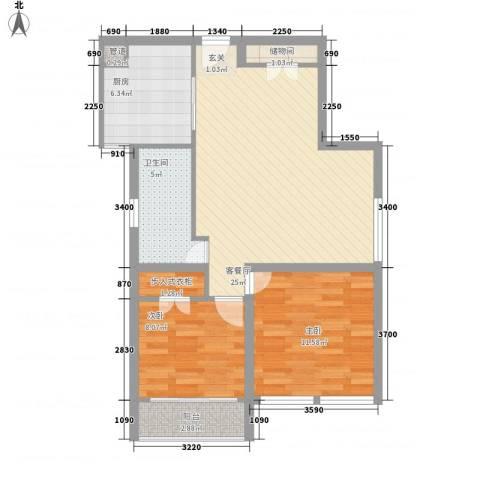 依水现代城2室1厅1卫1厨88.00㎡户型图
