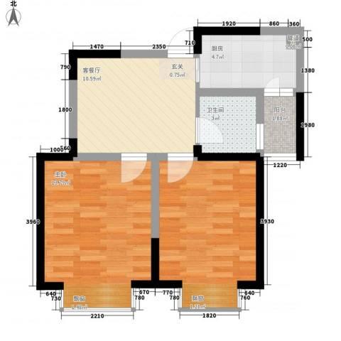 碧城云庭2室1厅1卫1厨62.00㎡户型图