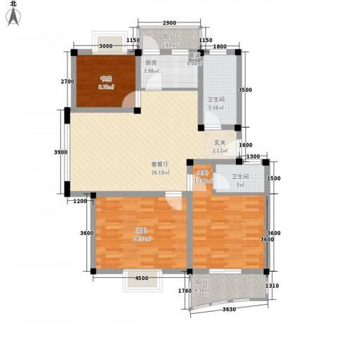 汉口人家3室1厅2卫1厨115.00㎡户型图