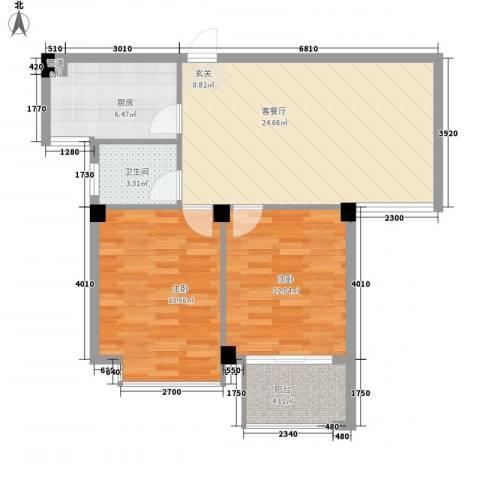 亚特蓝郡2室1厅1卫1厨90.00㎡户型图