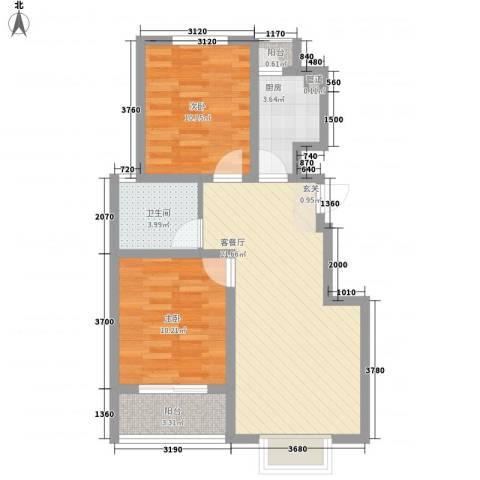 海东盛景2室1厅1卫1厨79.00㎡户型图