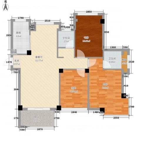 亚特蓝郡3室1厅2卫1厨121.00㎡户型图