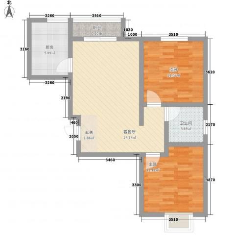 白河涧公寓2室1厅1卫1厨186.00㎡户型图