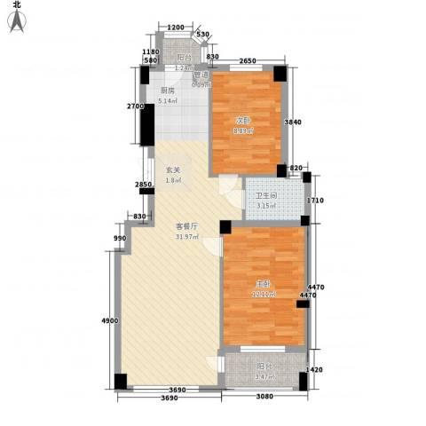 香岛丽湾2室1厅1卫0厨87.00㎡户型图