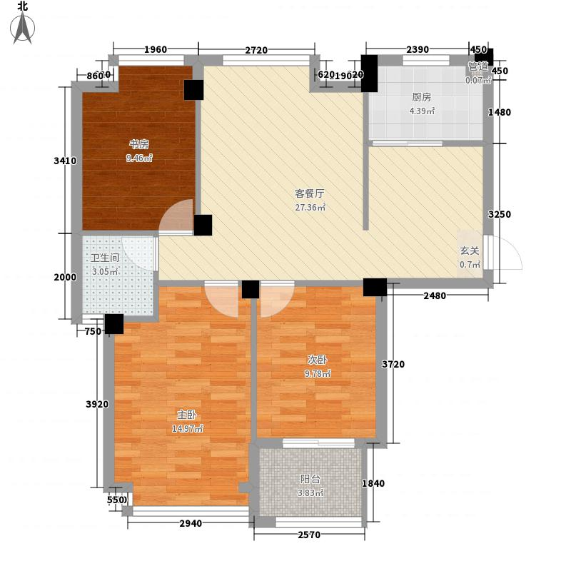 亚特蓝郡户型图B1/B2户型 3室2厅1卫