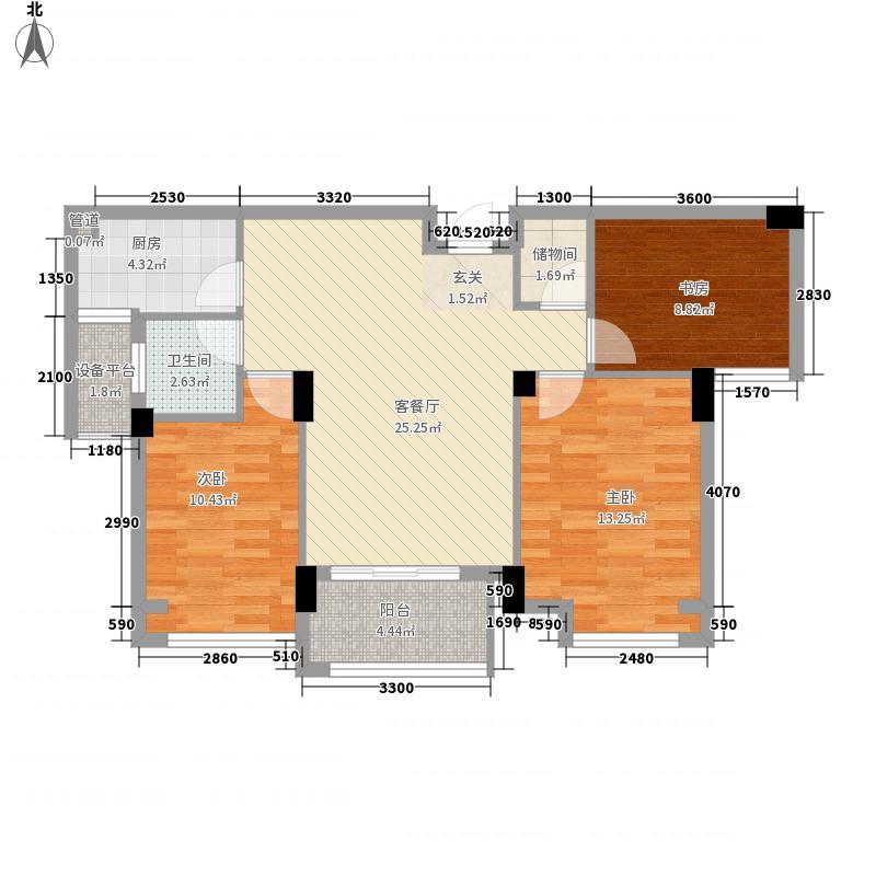 亚特蓝郡户型图B3户型 3室2厅1卫