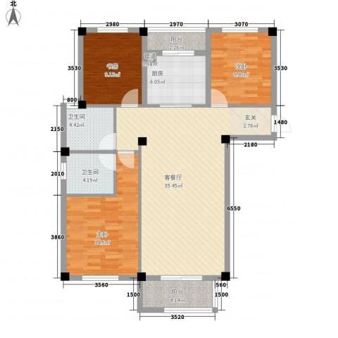 乾北・江山春晓3室1厅2卫1厨127.00㎡户型图