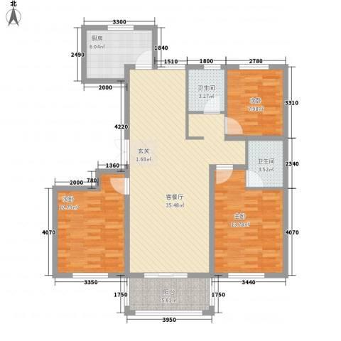 乾北・江山春晓3室1厅2卫1厨126.00㎡户型图