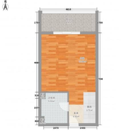 国贸新城1室0厅1卫0厨57.00㎡户型图