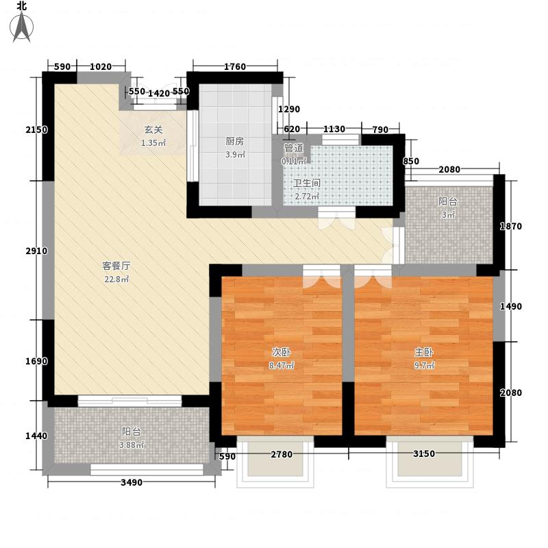 海尔公馆81.00㎡A2户型3室2厅1卫1厨
