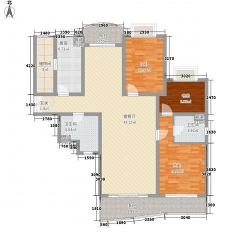 虹桥乐庭铂晶馆3室1厅2卫1厨159.00㎡户型图