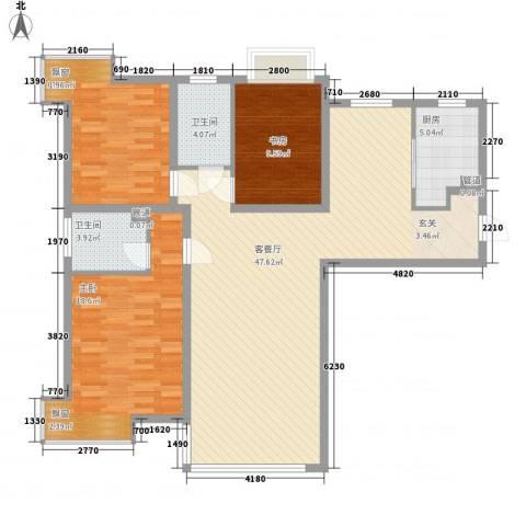 东海社区3室1厅2卫1厨143.00㎡户型图
