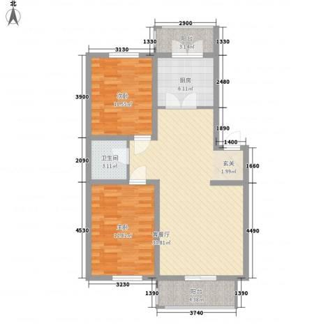久业佳园2室1厅1卫1厨93.00㎡户型图