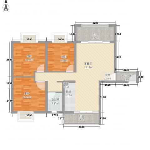 星宇・华成苑3室1厅1卫0厨111.00㎡户型图